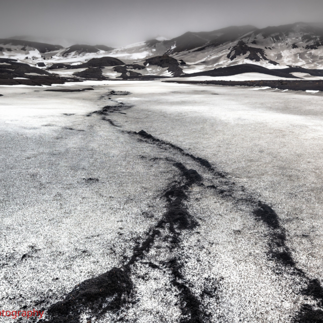 Volcanic Ash trails in the Snow · Deception Island