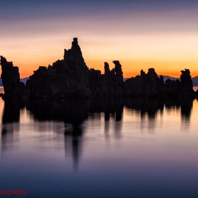 Tufa spire Silhouettes at sunrise, Mono Lake